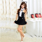 Women's Fashionable Sexy Cat Style Cosplay Sleep Dress Set  - Black
