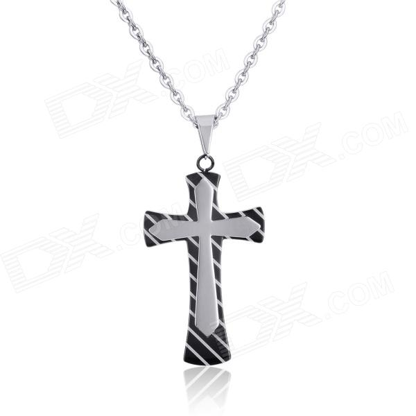 KCCHSTAR Cross Style 316L Stainless Steel Pendant Necklace - Black + Silver diy fashionable retro style 316l stainless steel angel shaped necklace pendant silver