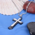 KCCHSTAR Cross Style 316L Stainless Steel Pendant Necklace - Black + Silver