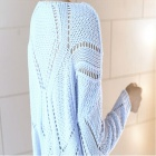 Stylish Hollowed Knitted Batwing Blouse Sweater - Blue
