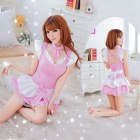 Women's Fashionable Sexy Maid Style Cosplay Sleep Dress Set - Pink + White