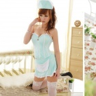Women's Fashionable Sexy Nurse Style Cosplay Sleep Dress Set - Blue
