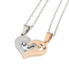 316L Stainless Steel Loving Couple's Rhinestone Studded Pendant Necklace - Golden + Silver (2 PCS)