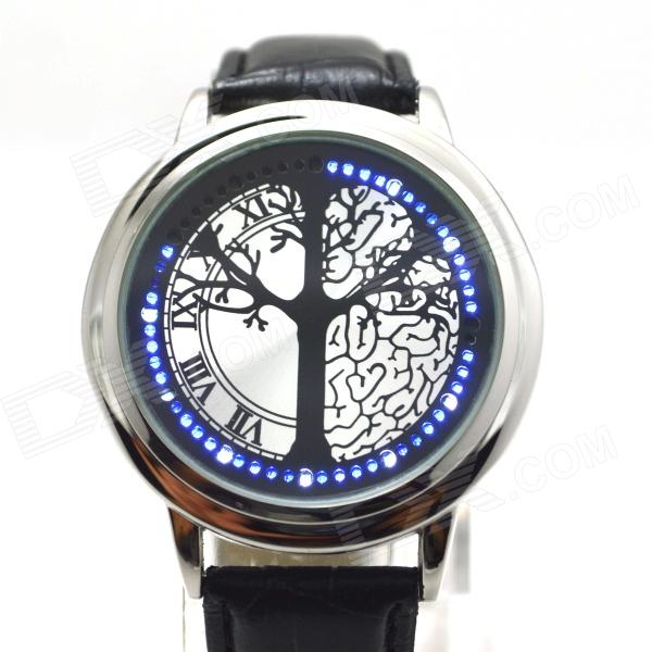 L-9 Stylish Tree Patterned Dial Blue LED Touch Screen Digital Wrist Watch - Black + Silver