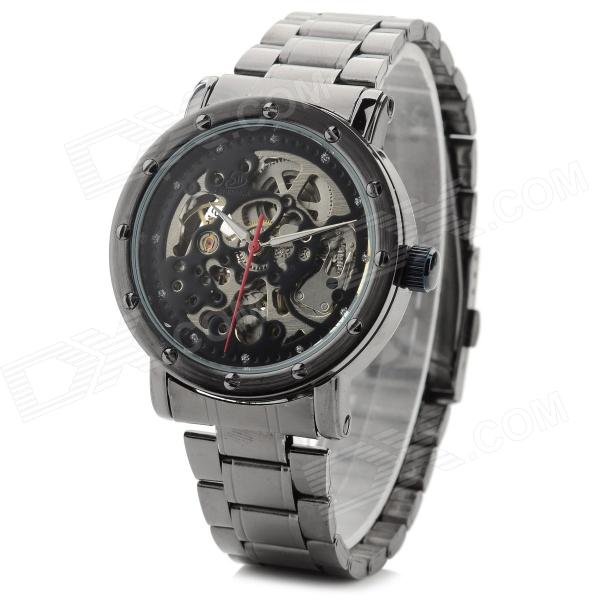 Shenhua 9417b Men's Stainless Steel Band Mechanical Analog Wristwatch - Black + Silver