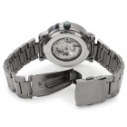 Shenhua Men's Stainless Steel Band Mechanical Analog Wristwatch - Black + Silver
