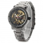 Shenhua Men's Stainless Steel Band Mechanical Analog Wristwatch - Black + Golden
