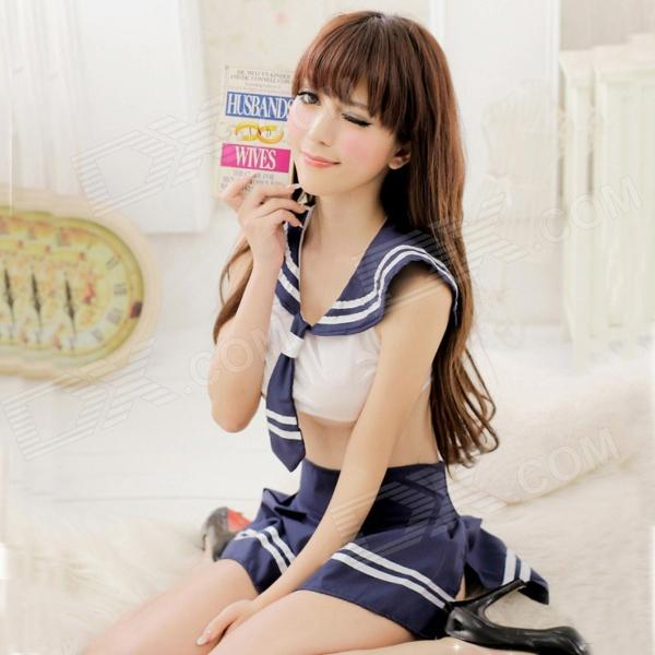 Women's Fashionable Sexy Student Style Role Play Sleep Dress Set - White + Blue