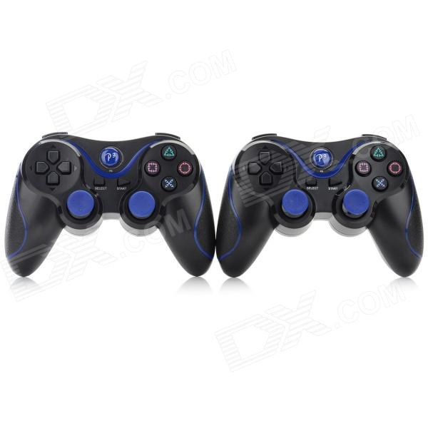 Controladores Bluetooth para PS3 + Mais - Preto + Azul (2PCS)