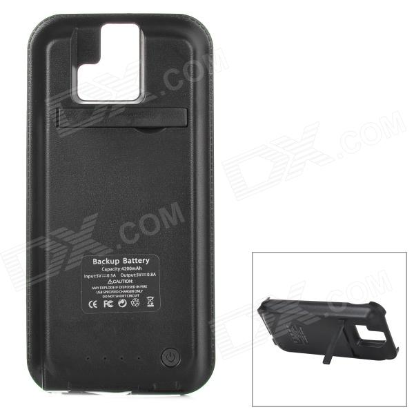 External 4200mAh Li-ion Battery Power Charger Back Case w/ Switch / Stand for HTC One (M8) - Black 3200mah backup battery case w holder for htc one m7 801e black