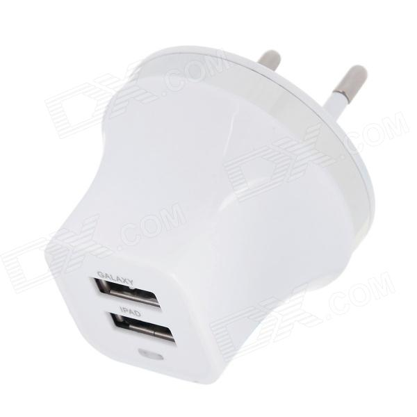 EU Plug Dual USB Power Adapter w/ LED Indicator for IPHONE / IPAD / IPOD / Samsung (100~240V) universal ac charging adapter charger w dual usb output for iphone ipad ipod white eu plug