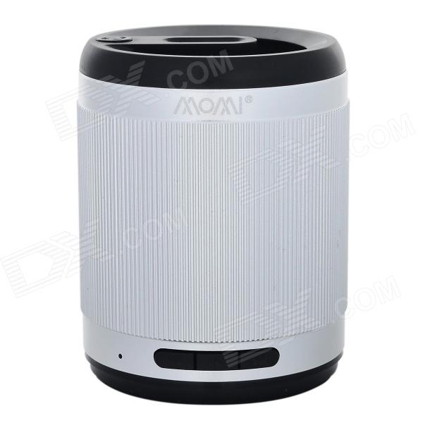 MOMI Portable 3.5mm 2.0-CH Bluetooth V3.0 Speaker w/ Microphone / TF - Silvery White + Black s08 portable 3w bluetooth v3 0 speaker w micro sd tf fm microphone black