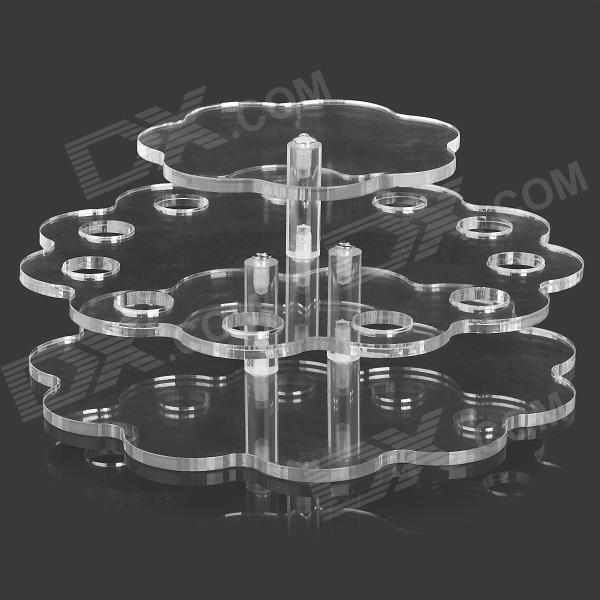 YJ-004 3-tier 11-hole Plum Blossom Shaped Acrylic Display Stand Tray for Pen / Lipstick / Cigarette