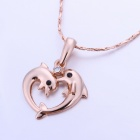 Sweet Love Dolphin Style Pendant Necklace - White + Rose Gold