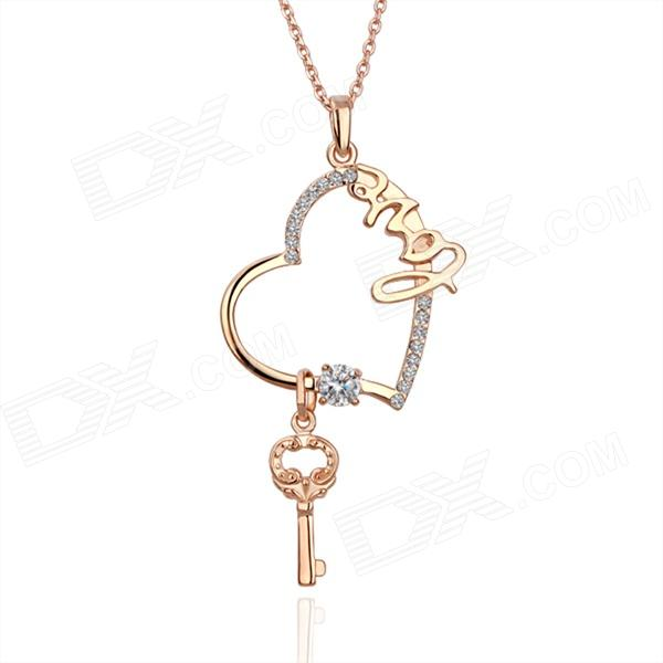 Shiny rhinestone studded sweet heart love key pendant necklace shiny rhinestone studded sweet heart love key pendant necklace rose gold aloadofball Image collections