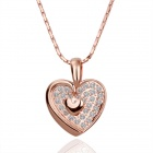 Shiny Crystal Inlaid Sweet Heart Style Pendant Necklace - Rose Gold