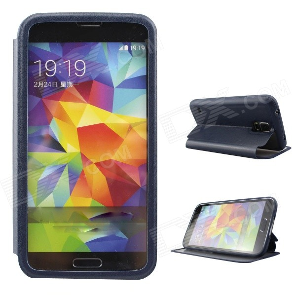 Ultra-thin Protective PU + TPU Case w/ Stand / Full Display Window for Samsung Galaxy S5 - Deep Blue