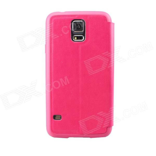 Ultra-thin Protective PU + TPU Case w/ Stand / Display Window for Samsung Galaxy S5 - Deep Pink protective flip open pu leather pc case w display window for samsung galaxy s5 deep pink