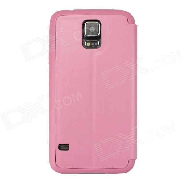 Ultra-thin Protective PU + TPU Case w/ Stand / Full Display Window for Samsung Galaxy S5 - Deep Pink protective flip open pu leather pc case w display window for samsung galaxy s5 deep pink