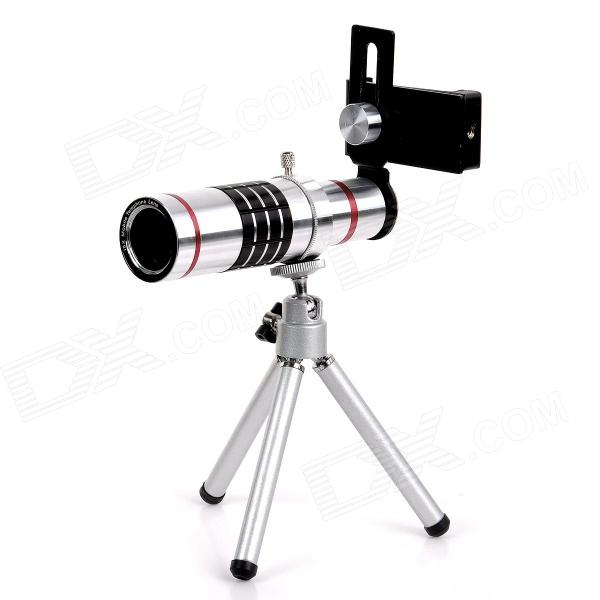 18X Aluminum Alloy Telephoto Lens Set for IPHONE / Samsung / HTC / Sony + More - Silver universal devil style aluminum alloy stand holder for iphone samsung htc sony golden