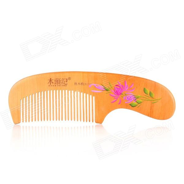 Mutouji 1716 Blossom Painted Anti-static Peach Wooden Comb - Brown