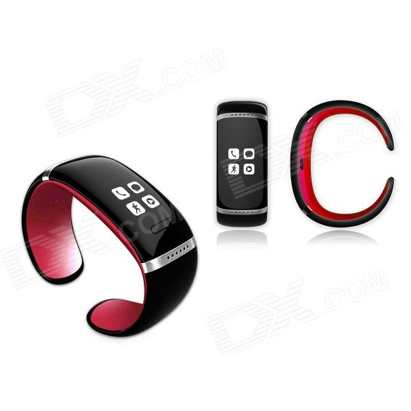 OLED Bluetooth V3.0 Smart Touch Bracelet Watch w/ Music Player / Pedometer - Black + Red oled bluetooth v3 0 smart touch bracelet watch w music player call answering pedometer black
