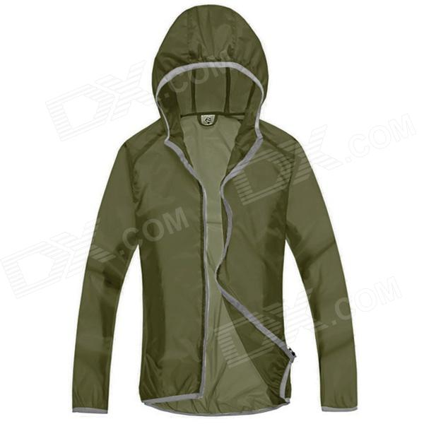 WindTour WT13514 Men's Outdoor Ultra Thin Quick Dry UV Protection Trench Coat - Army Green (XXL)