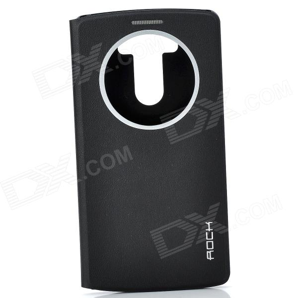 ROCK Protective Flip Ooen PU + PC Case w/ Display Window / Auto Sleep for LG Optimus G3 - Black