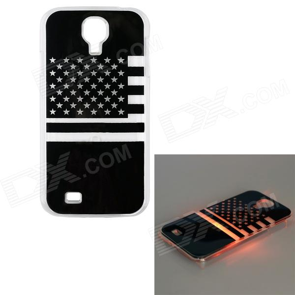 U.S Flag Pattern LED Flash Light Protective ABS Back Case for Samsung Galaxy S4 i9500 - Black protective usa flag pattern back case w crystal for samsung galaxy s4 i9500 multicolored