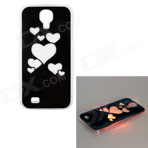 Love Heart Pattern LED Flash Light ABS Back Case for Samsung Galaxy S4 i9500 - Black + White love note