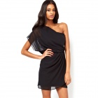 JMJ-2804 Sexy One-Shoulder Chiffon Minikleid - Schwarz (XL)