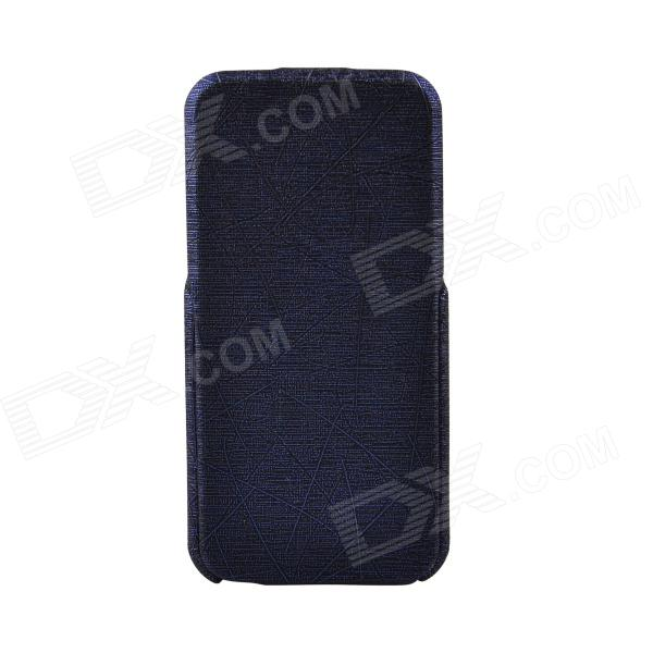 Protective PU Top Flip Open Case for IPHONE 5 / 5S - Deep Blue