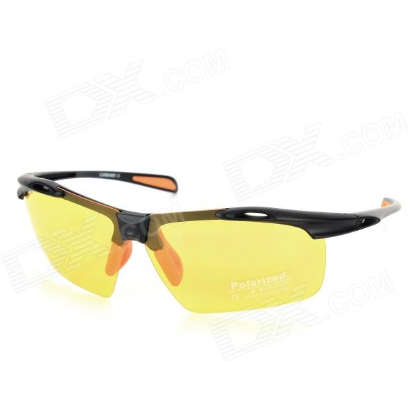 CARSHIRO Fashionable PC Frame Resin Lens UV400 Protection Polarized Sport Sunglasses - Black