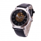 Sewor M101-1 Men's PU Leather Band Self-winding Mechanical Analog Wristwatch - Black + Silver