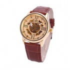 Sewor M102-3 Men's PU Leather Band Self-winding Mechanical Analog Wristwatch - Golden + Brown