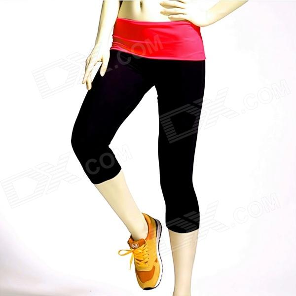 Women's Seamless Elastic Tight Yoga Fitness Dance Pants - Black + Rosy