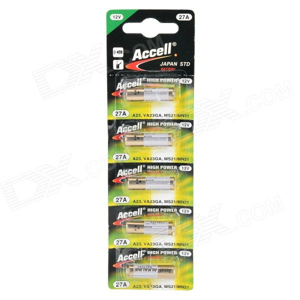 Accell 27A 12V Alkaline Ni-MH Battery for R/C Car Controller - White + Golden (5 PCS) accell 27a 12v alkaline ni mh battery for r c car controller white golden 5 pcs