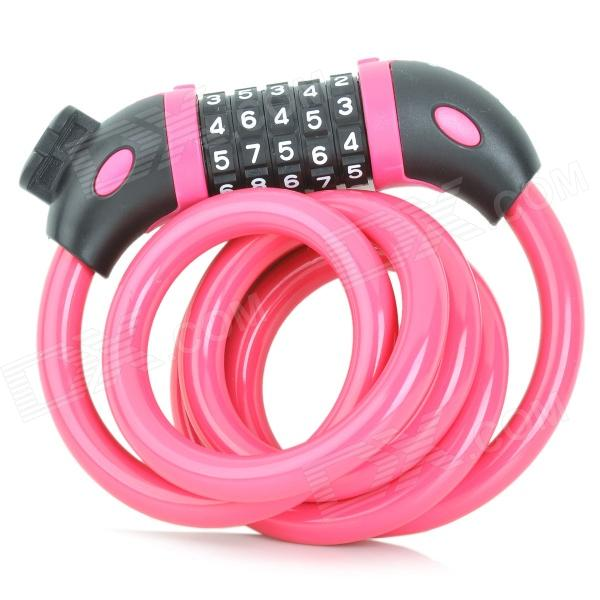 TONYON TY566 Universal 5-Digit Password Security Anti-Theft Bicycle Bike Lock - Deep Pink trelock bicycle cable lock bike steel locks biking bicycle lock anti theft security level 3 cycling locks bicycle accessories