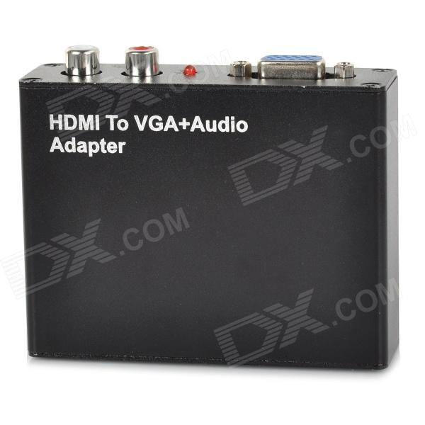 HDMI to VGA + R/L Audio Converter - Black (100~240V) vga to hdmi 1080p 720p video audio converter w scaler black silver
