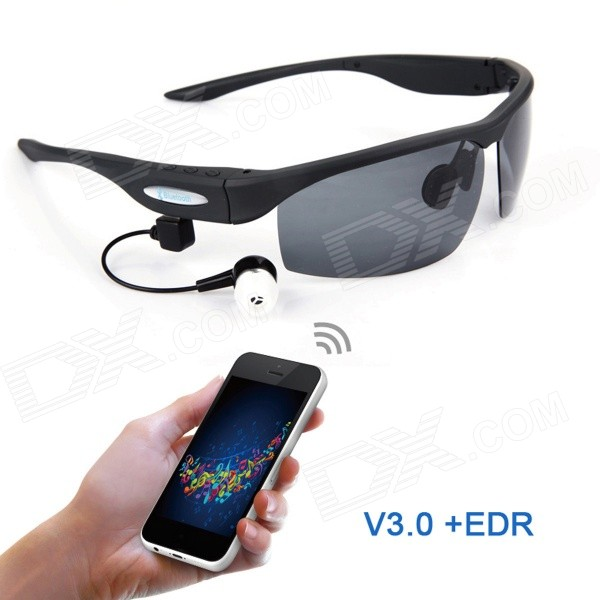 Universal Bluetooth 3.0 + EDR polarisert solbriller med UV Lens for IPHONE / PS3 - svart
