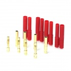 DIY 4.0mm Gold Plated Banana Plug Connector for Fixed Wing R/C Aircraft - Golden + Red (4 Sets)