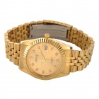 NARY 6030 Stainless Steel Band Analog Quartz Wristwatch for Couples - Golden (Pair / 1 x SR626)