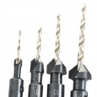 16# 13# 10# 6# hex Bar acero Tapper Drill Set - negro (4 piezas)