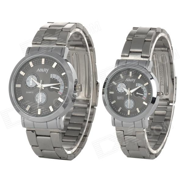 NARY 6017-2 Stainless Steel Band Quartz Wristwatch for Lovers / Couples - Silver (Pair / 1 x SR626)