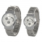 NARY 6017-2 Stainless Steel Band Quartz Wristwatch for Lovers / Couples (Pair / 1 x SR626)