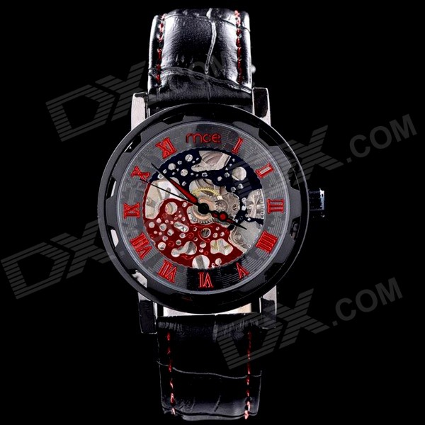 MCE 01-0060240 Stylish Skeleton Dial Analog Mechanical Wristwatch - Black + Red