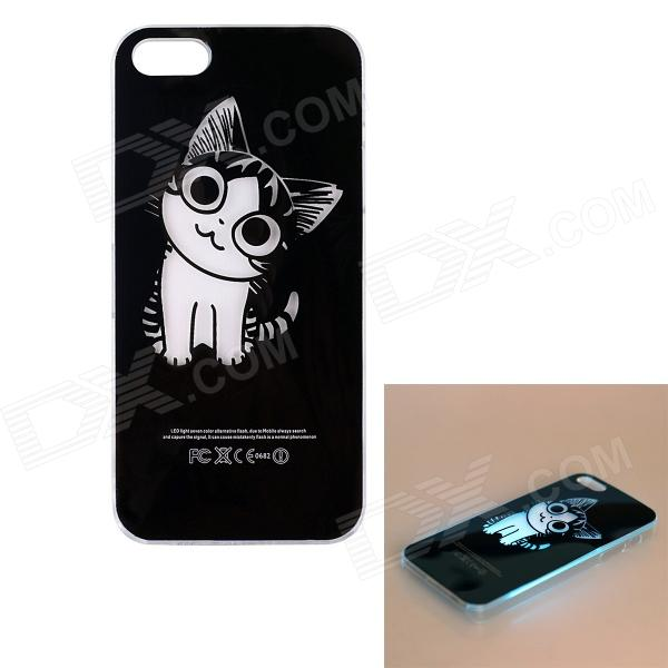 Lovely Cat Pattern LED Flash Light Protective ABS Back Case for IPHONE 5 / 5S - Black + White cartoon pattern matte protective abs back case for iphone 4 4s deep pink