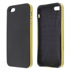 Fashionable Protective Silicone and Plastic Case for IPONE 5 / 5S - Black + Yellow