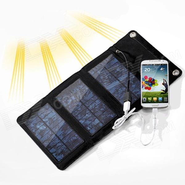 Portable 6W Solar Powered Charger Power Bank w/ USB Output for Cell Phone/Gopro/Canon/Nikon - Black 1800mah portable solar power solar power battery pack for cell phones and usb gadgets