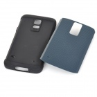 Fashionable Armor Style Protective PC + Silicone Back Case for Samsung Galaxy S5 - Cyan + Black